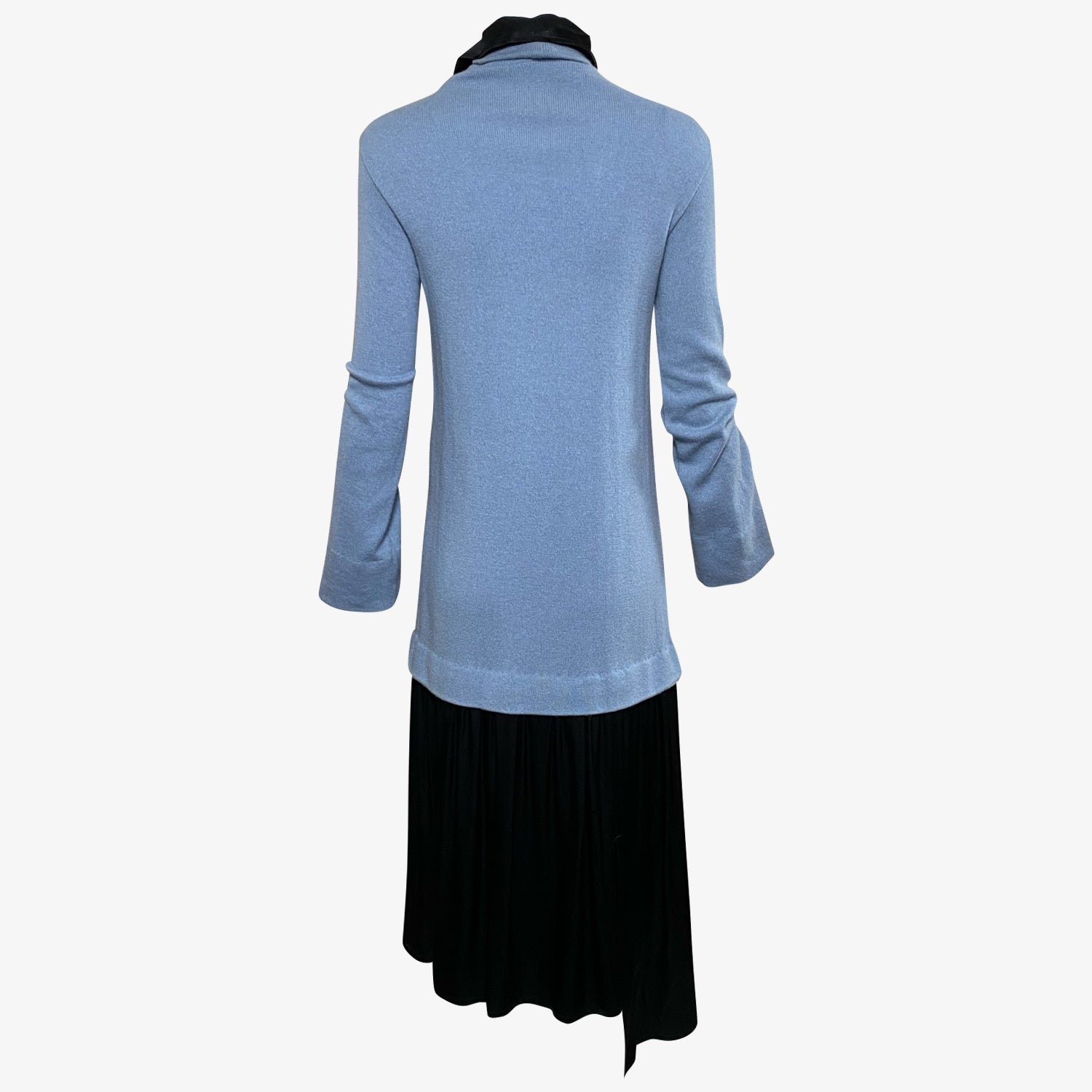 Yohji Yamamoto Noir Baby Blue Wool Dress  With Drop Waist Satin Skirt  BACK 2 of 3