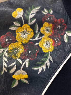 Roncelli  70s Blue  Hippie Western Jacket with Leather Detailing CLOSE UP FLOWERS 5 of 6