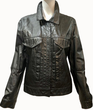 Ann DeDemuelemeester 90s Black Leather Jacket Front 1 of 5