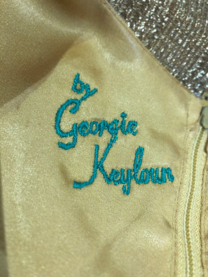 "Georgia Keyloun 60s Gold Lurex Palazzo Jumpsuit, ""label"""