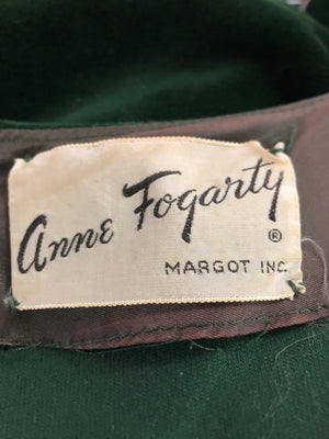 Anne Fogarty 50s Green Velvet Holiday Dress LABEL 4 of 4