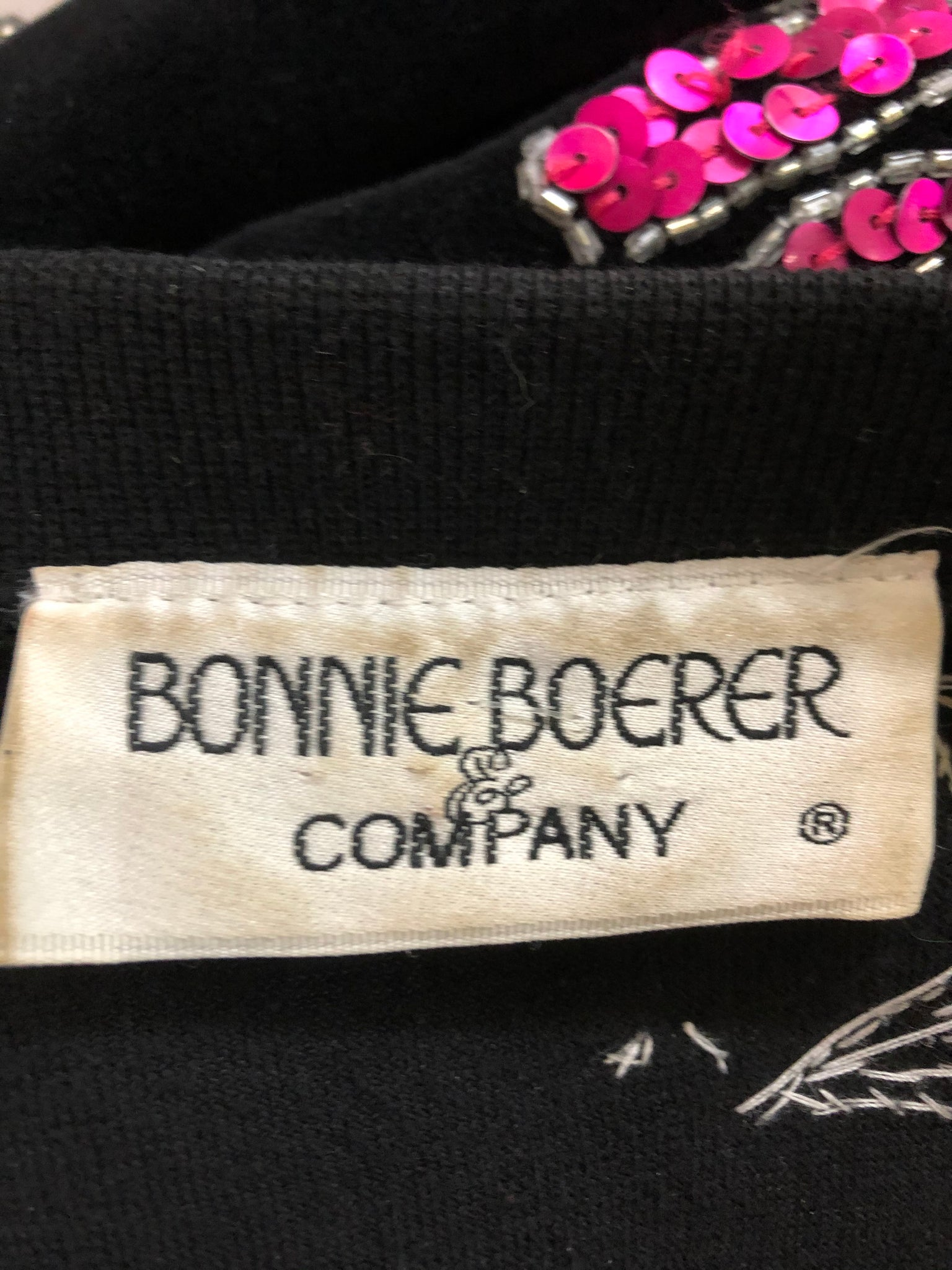 Bonnie Boerer 80s  Black Velvet Sequin Fantasy Top LABEL 7 of 7