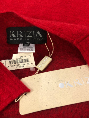Krizia 90s NWT Red Wool Deconstructed Jacket LABEL 4 of 4