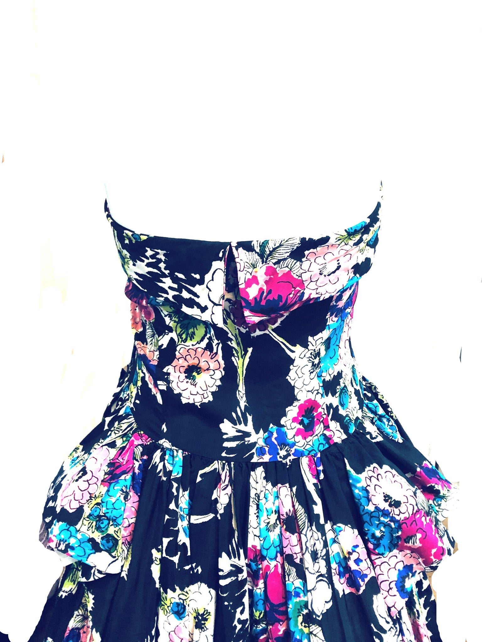40s Black Floral Halter Gown with Peplum DETAIL 4 of 5