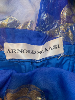 Scaasi 80s Blue Chiffon Strapless Gown with Matching Stole LABEL 4 of 4