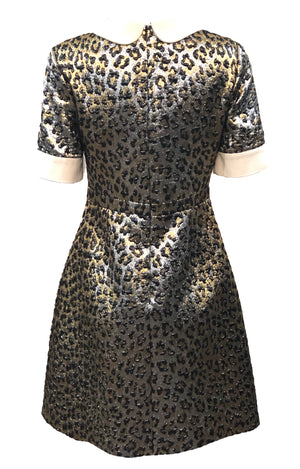 Gucci 2017 Gold Lame Leopard Dress Back 2 of 6