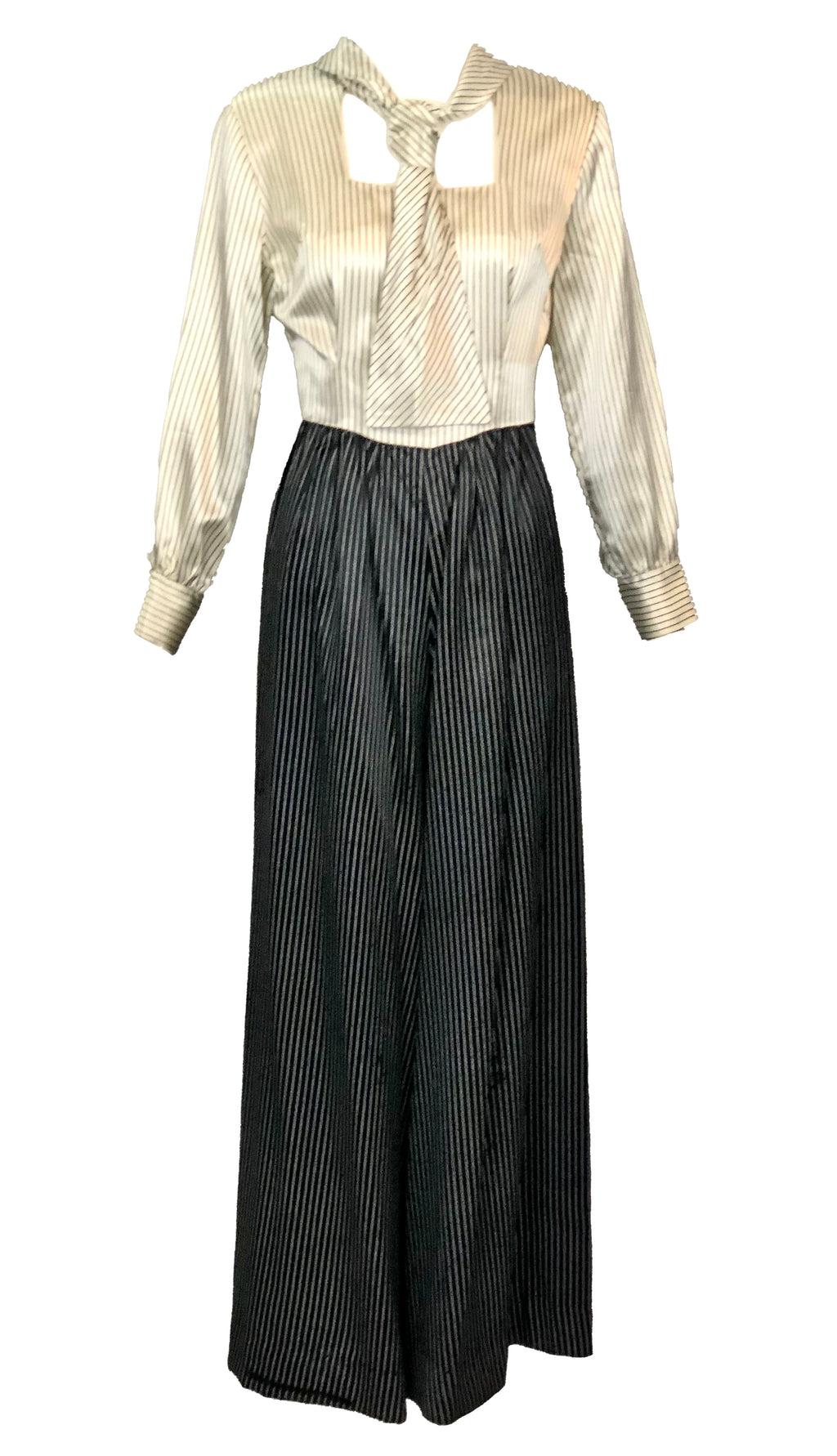 60s Black and White Pinstripe Jumpsuit 99 AND UNDER FRONT 1 of 4