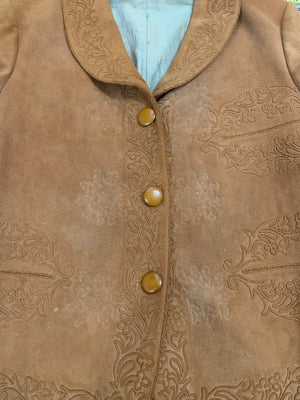 Argentinian 40s Tan Suede Jacket with Couched Trim  FRONT DETAIL 4 of 4