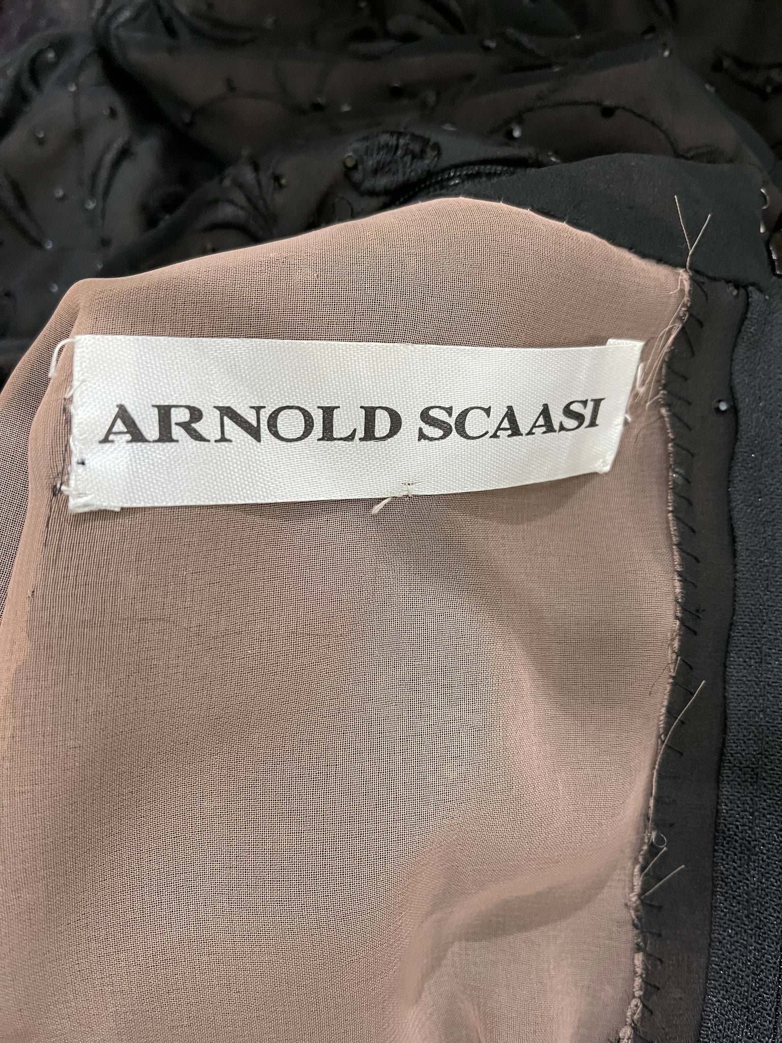 Arnold Scaasi 80s dress Black Chiffon Beaded and Embroidered Sexy Sheath LABEL 4 of 4