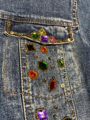 90s Bedazzled Denim Jacket  POCKET DETAIL 5 of 6