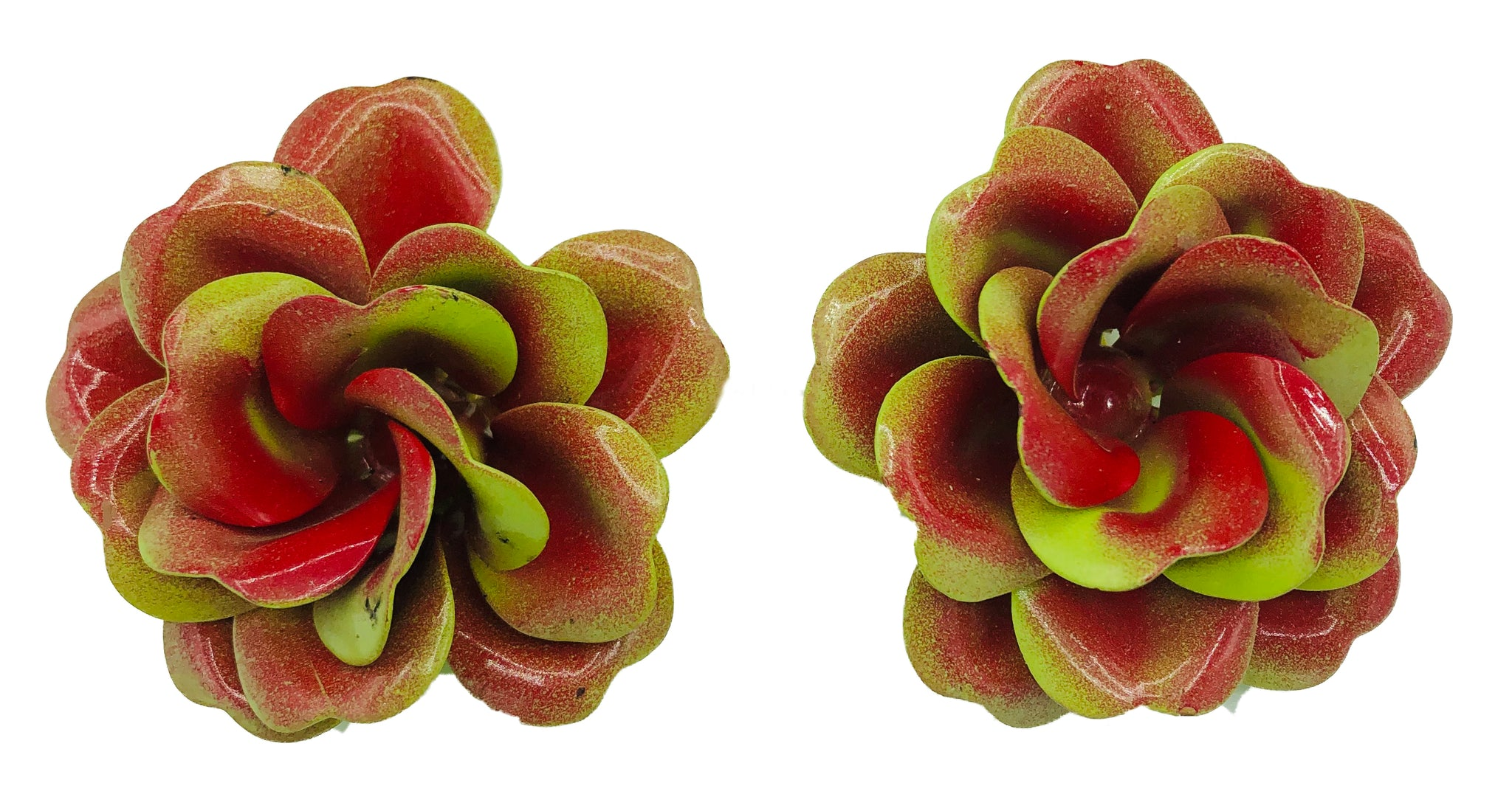 60s Oversize Floral Brooch and Earrings FRONT EARRING 4 of 5