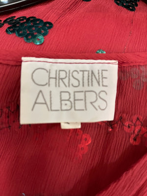 Christine Albers 70s Disco Red Sequin Blouse  LABEL 4 of 4