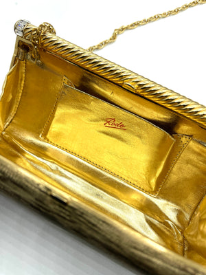 Rodo 80s Gold Tone Evening Clutch LOGO 4 of 4