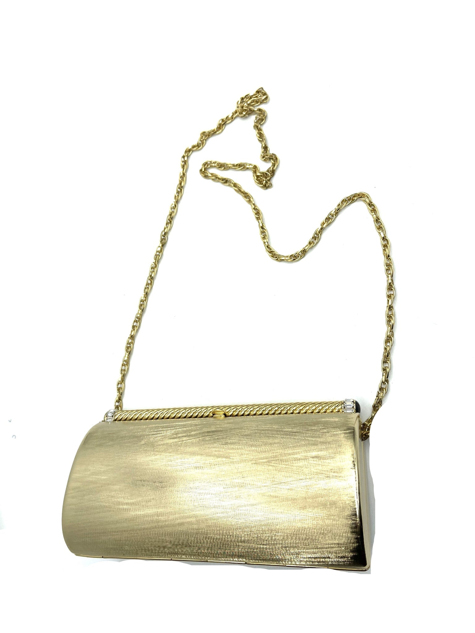 Rodo 80s Gold Tone Evening Clutch WITH CHAIN 2 of 4