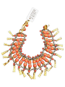 Delillo 70s Gold Tone and Orange Jeweled Choker 1 of 3