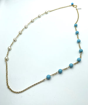 Chanel Faux Pearl and Glass Bead Sautoir Necklace FULL LENGTH 1 of 4