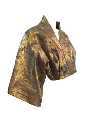 Howard Shoup 40s Gold Lame Jacquard Kimono Style Evening Jacket Side B 4 of 6