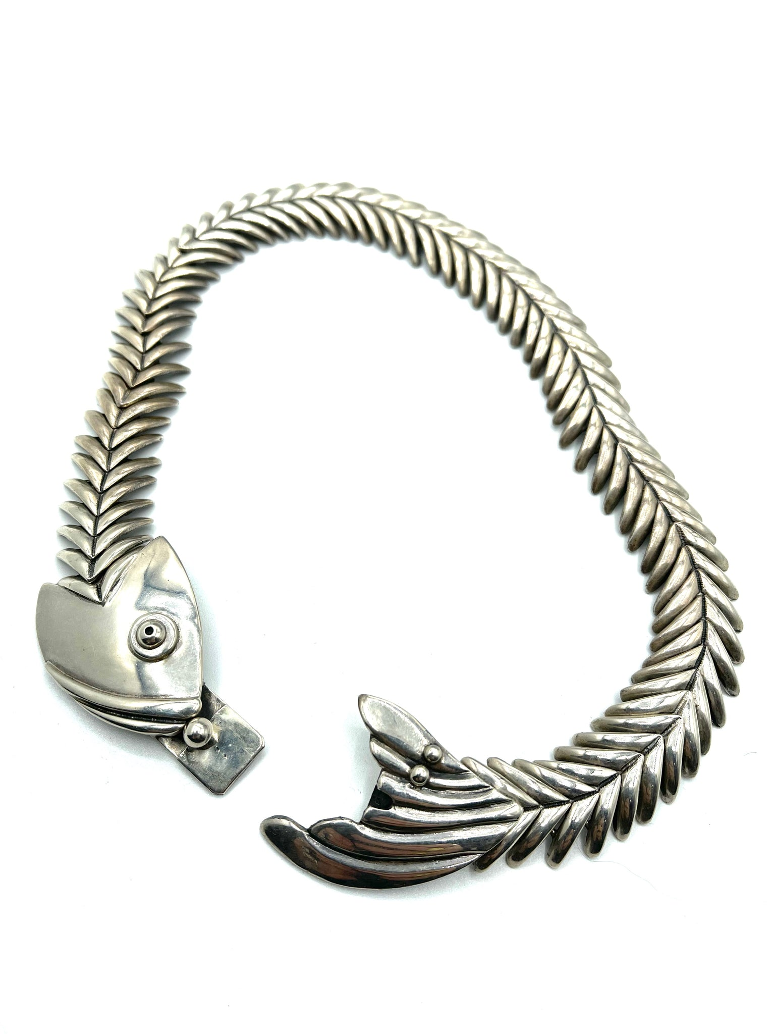 Mexican Sterling Silver Fish Skeleton Collar OPEN 2 of 5