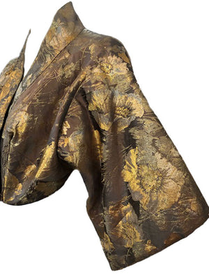 Howard Shoup 40s Gold Lame Jacquard Kimono Style Evening Jacket