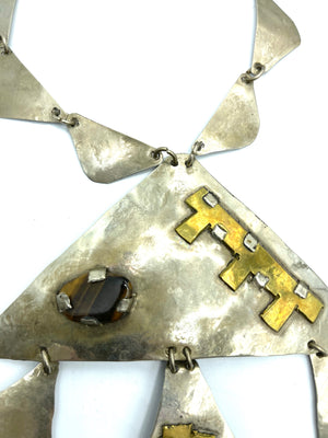 Brutalist Aluminum Necklace with Tiger Eye PENDANT  4 of 5