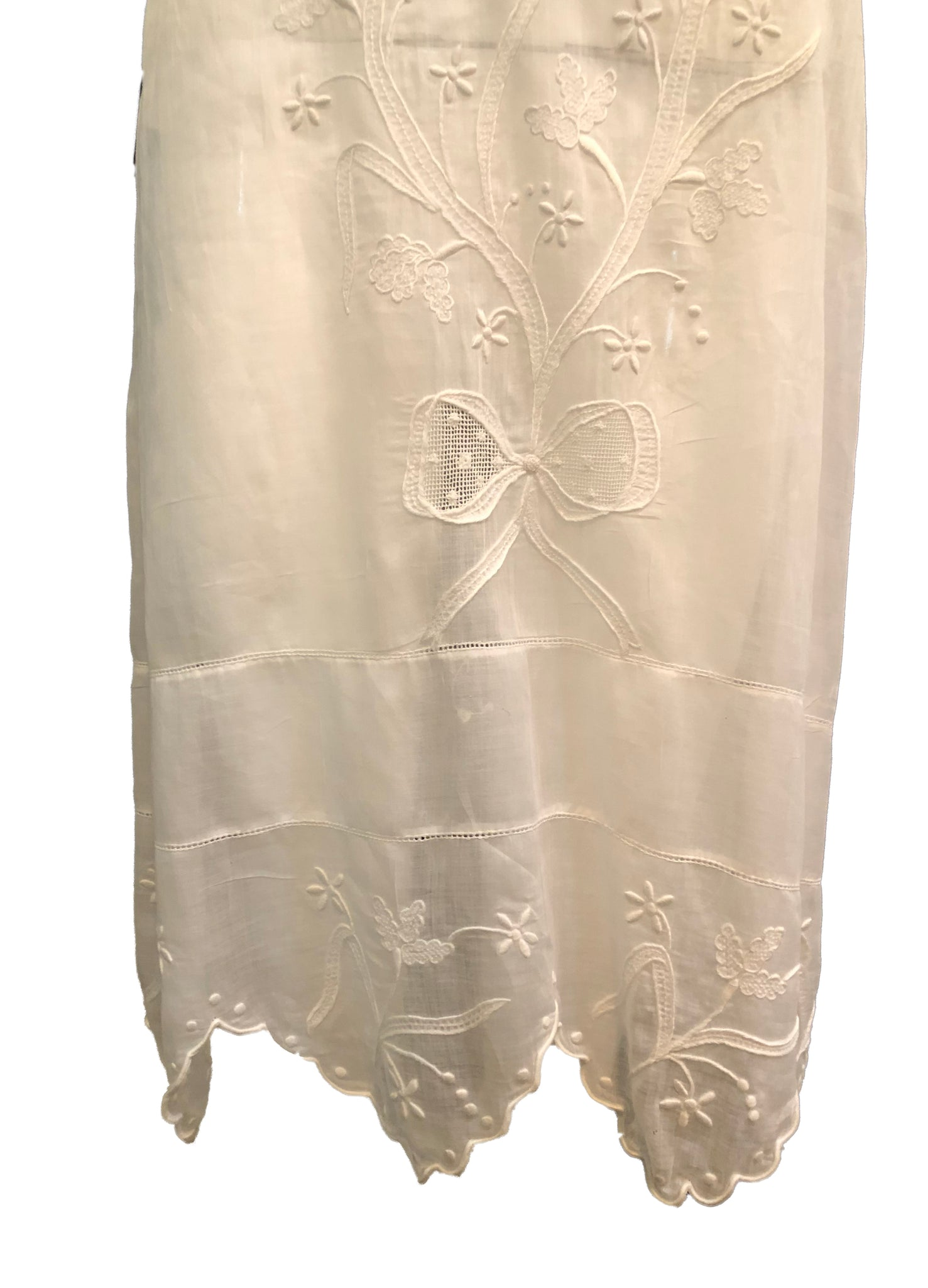 20s Dress White Cotton Voile with Delicate Embroidery and Lace trim DETAIL 4 of 4