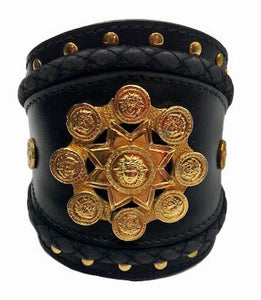 Lifetime Gianni Versace 90s Black Leather Wide Cuff With Medallion Front 1 of 4