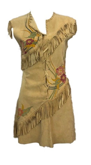 60s Hippie Hand Painted Suede Fringed Mini Dress Label Front 1 of 7
