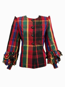 Givenchy Couture 80s Red Plaid Taffeta Blouse with Ruffled Cuffs Front 1 of 5