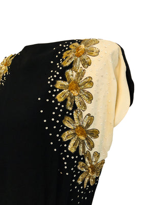 40s Black and White Crepe Dress with Burnished Sequin Flowers  DETAIL 4 of 4