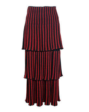 Sonia Rykiel 80s Red and Black Striped Tiered Knit Midi Skirt FRONT 1 of 4