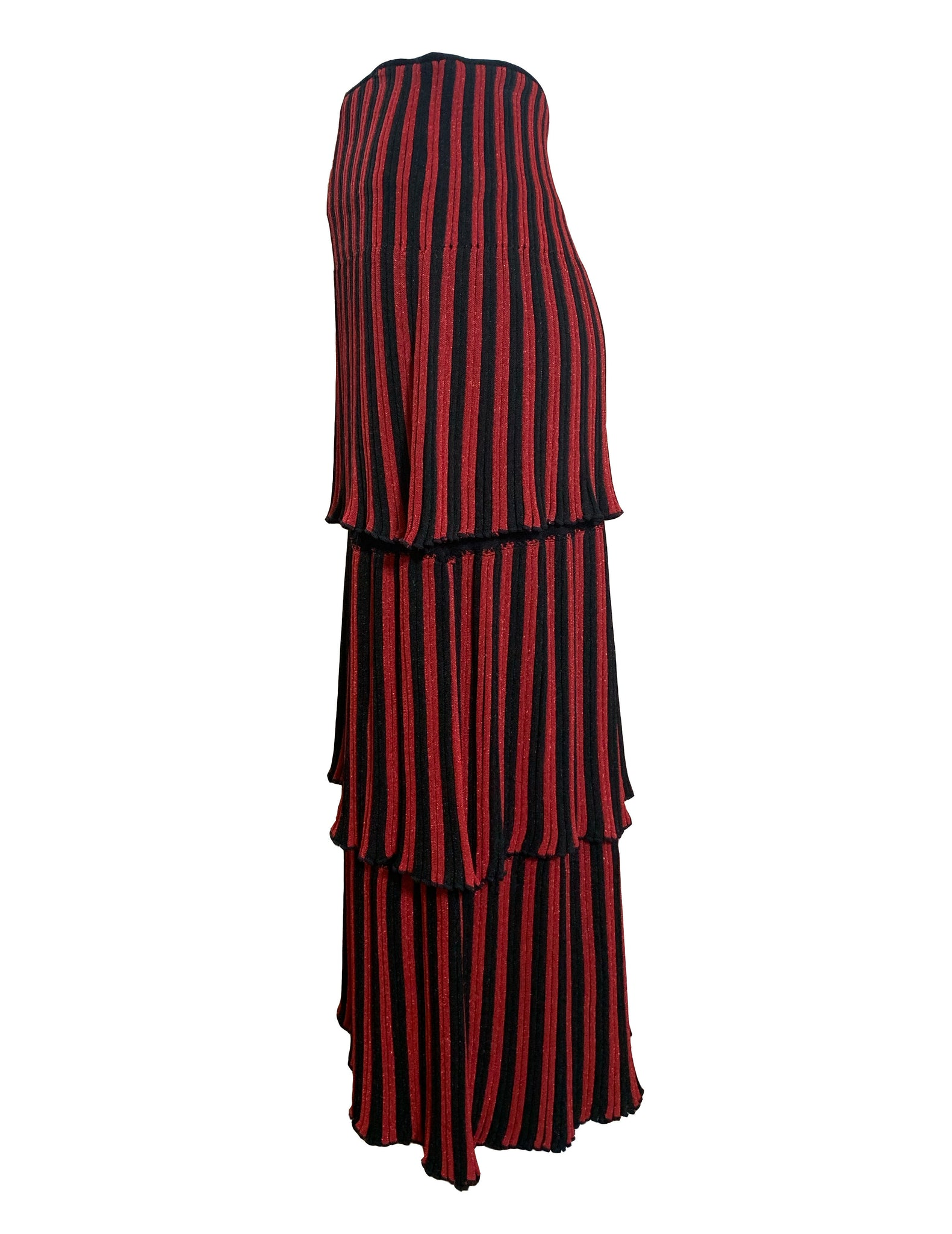 Sonia Rykiel 80s Red and Black Striped Tiered Knit Midi Skirt SIDE 2 of 4