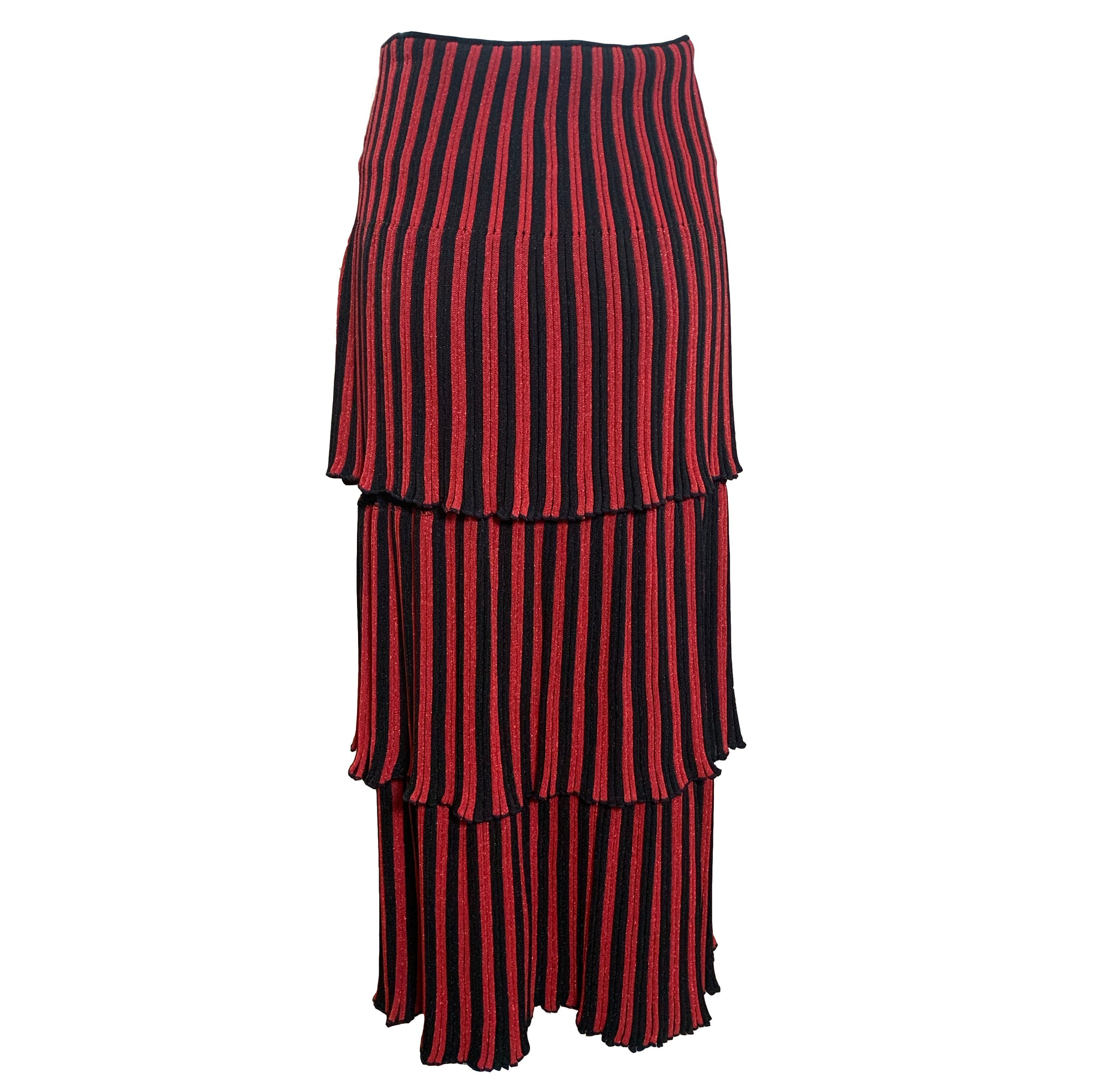 Sonia Rykiel 80s Red and Black Striped Tiered Knit Midi Skirt BACK 3 of 4