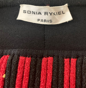 Sonia Rykiel 80s Red and Black Striped Tiered Knit Midi Skirt LABEL 4 of 4