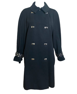 Claude Montana 90s Black Studded Trench Coat FRONT 1 of 4