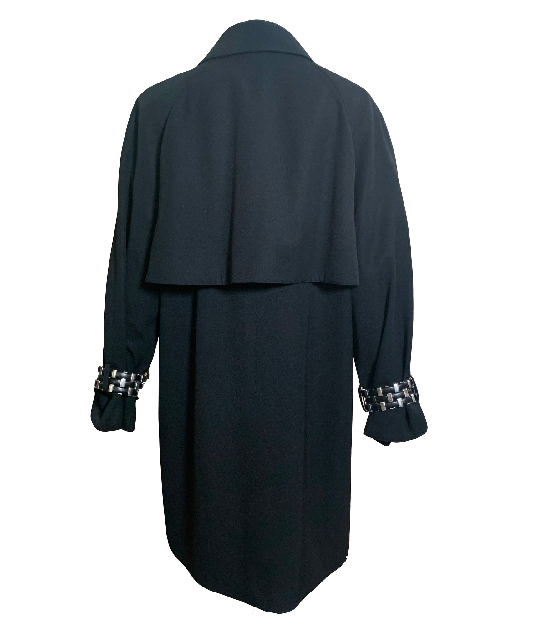 Claude Montana 90s Black Studded Trench Coat BACK 2 of 4