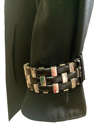 Claude Montana 90s Black Studded Trench Coat CUFF DETAIL 3 of 4