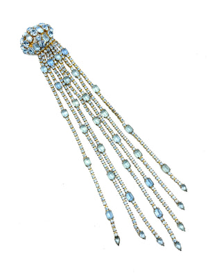 60s Baby Blue Rhinestone Fringed Brooch FRONT 1 of 5