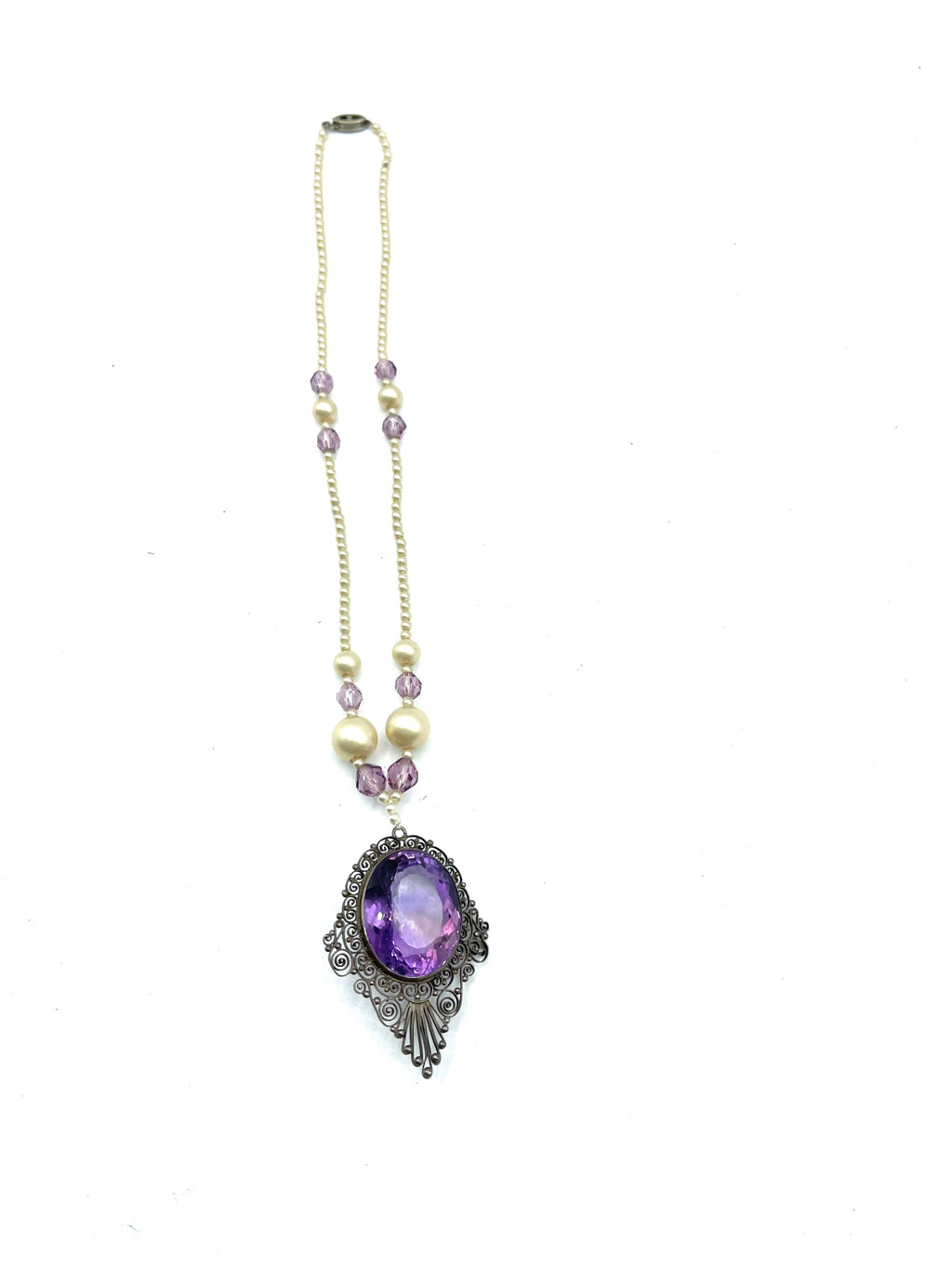 20s Faux Pearl Necklace with Purple Crystal Pendant
