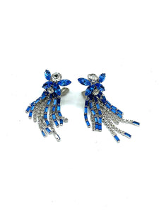 60s Showgirl Rhinestone Chandelier Earrings in Blue and Clear FRONT 1 of 3