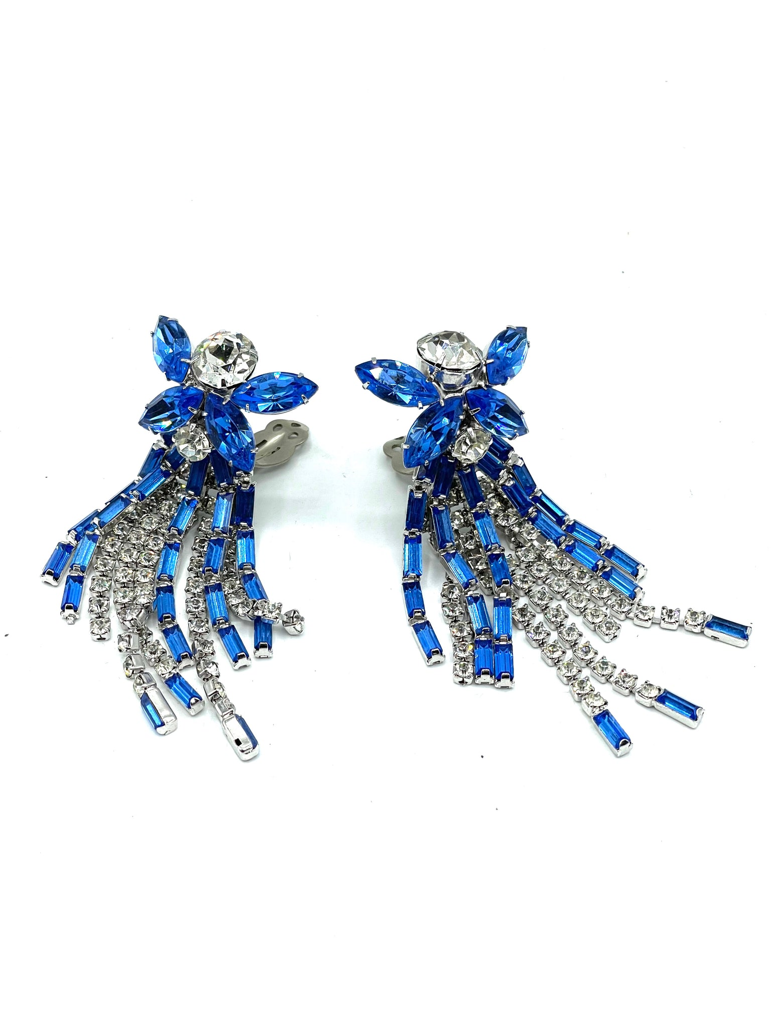 60s Showgirl Rhinestone Chandelier Earrings in Blue and Clear FRONT 2 of 3