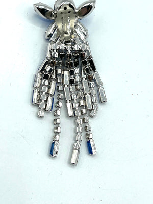 60s Showgirl Rhinestone Chandelier Earrings in Blue and Clear BACK 3 of 3
