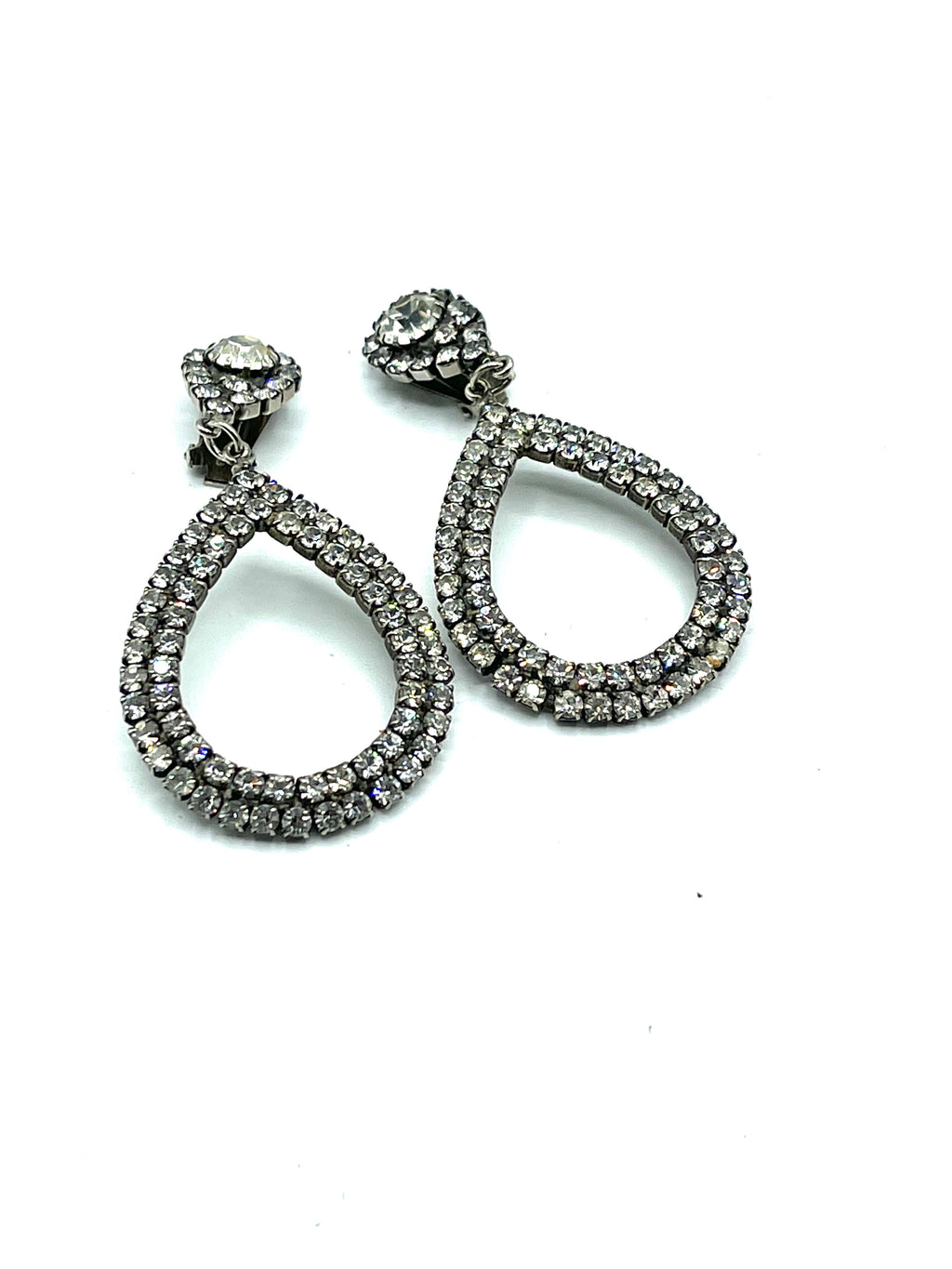 60s Showgirl Rhinestone Teardrop Earrings FRONT 1 of 3