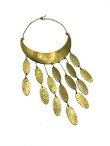 70s Hippie Hammered Brass Collar with Cascading Drops FRONT 1 of 3