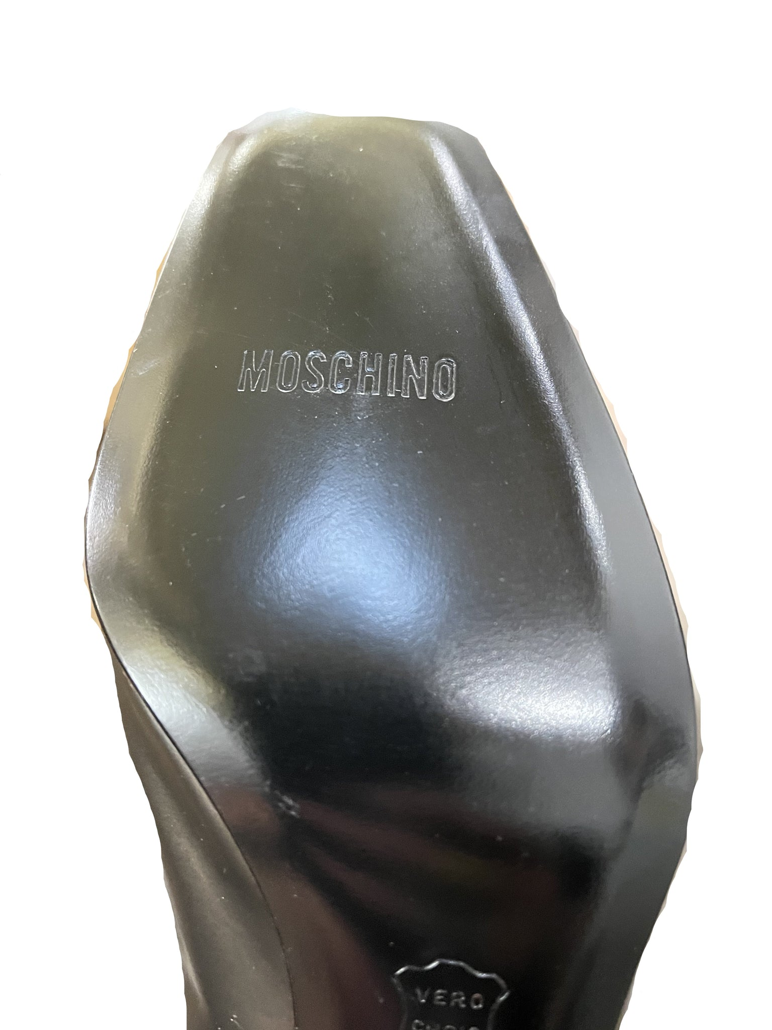 Moschino 90s Grey Pilgrim Pumps With Chrome Heart SOLE 4 of 4