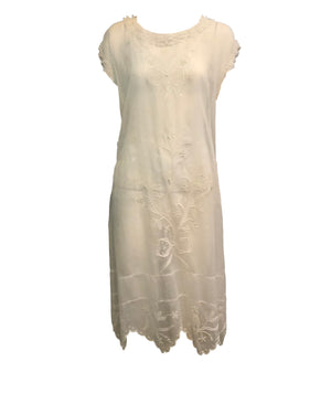 20s Dress White Cotton Voile with Delicate Embroidery and Lace trim FRONT 1 of 4