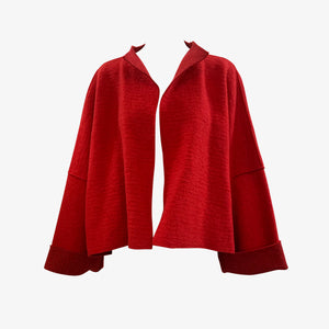 Krizia 90s NWT Red Wool Deconstructed Jacket FRONT 1 of 4