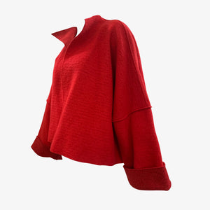 Krizia 90s NWT Red Wool Deconstructed Jacket SIDE 2 of 4