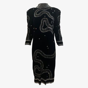 Fabrice  Black Velvet Cocktail Dress with Low Low Back FRONT 1 of 6