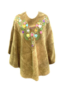 60s Hippie Green Embroidered Suede Poncho FRONT 1 of 4
