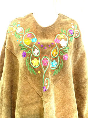 60s Hippie Green Embroidered Suede Poncho DETAIL 4 of 4